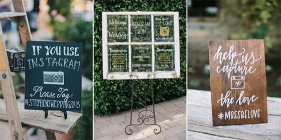 wedding hashtag signs