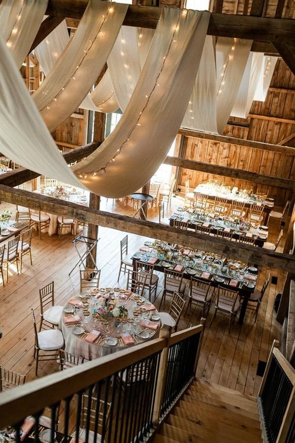 wedding reception set in a barn