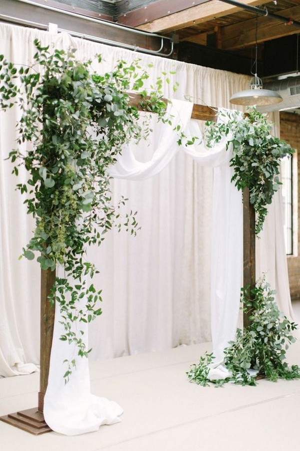 white and greenery wedding arch decoration ideas