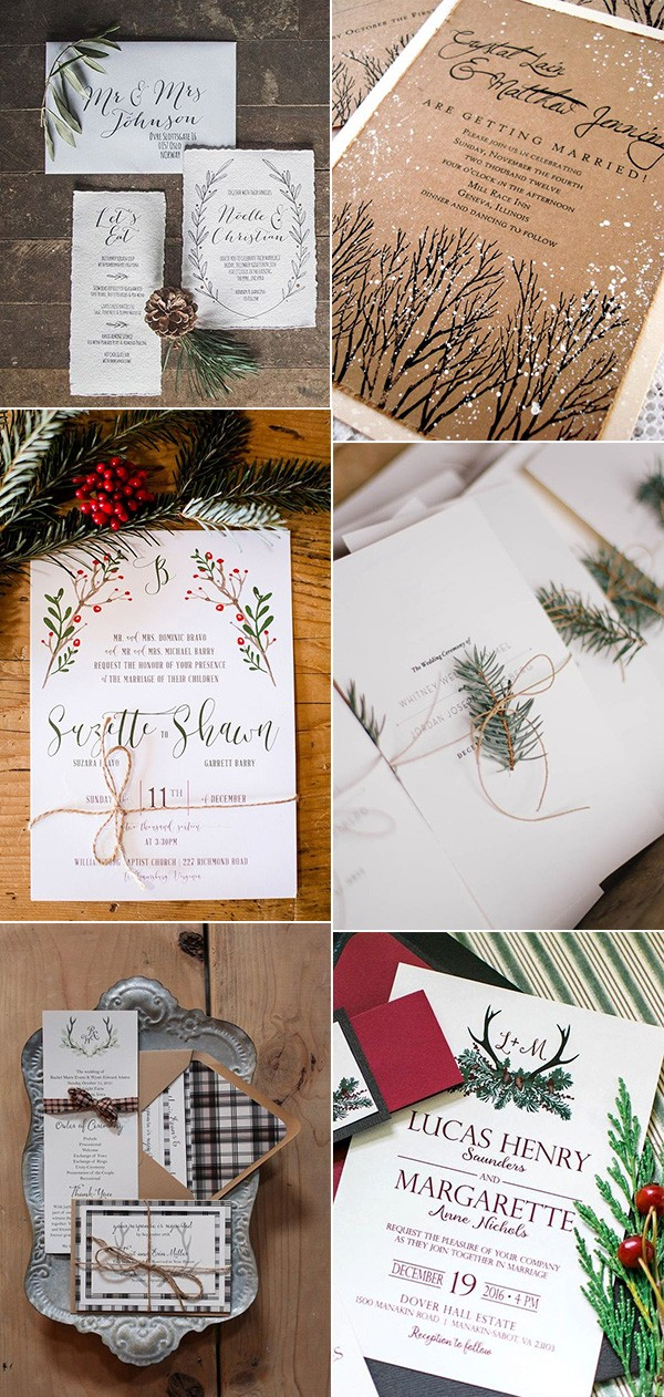 winter wonderland wedding invitations