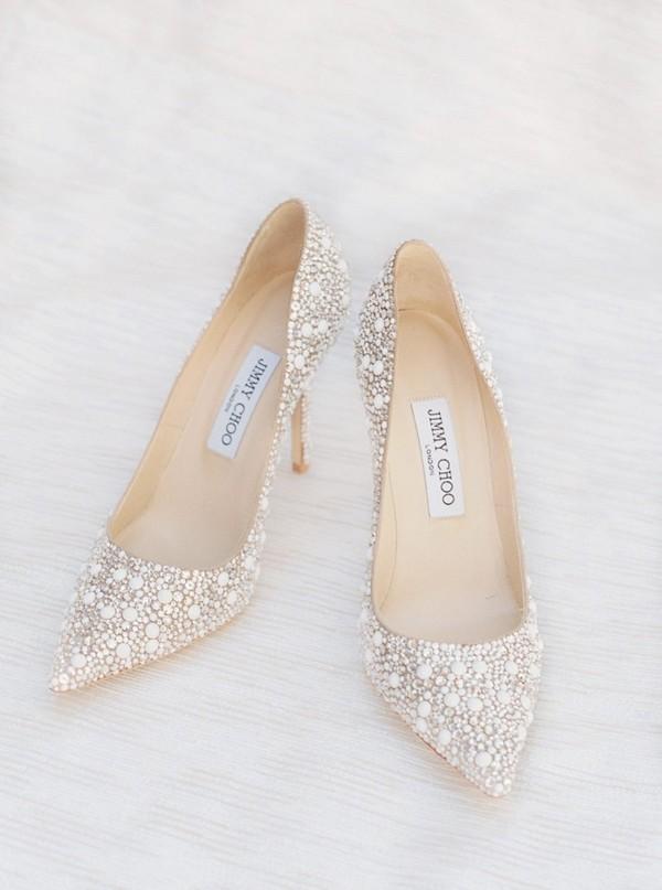 Jimmy Choo low heel beaded wedding shoes