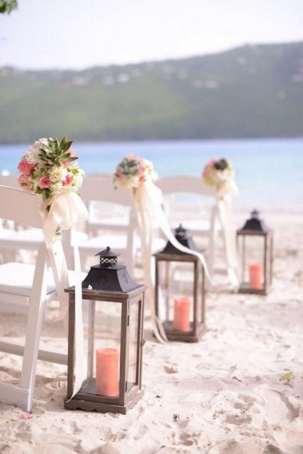 beach wedding aisle ideas with lanterns and coral candles