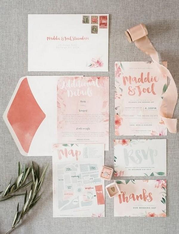 boho chic coral wedding invitations