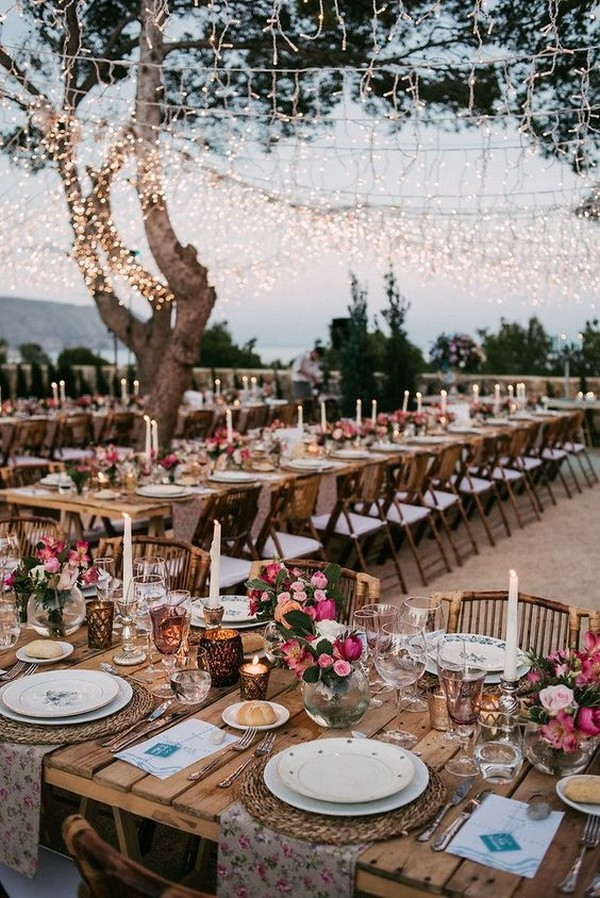 boho chic wedding reception decoration and lighting ideas