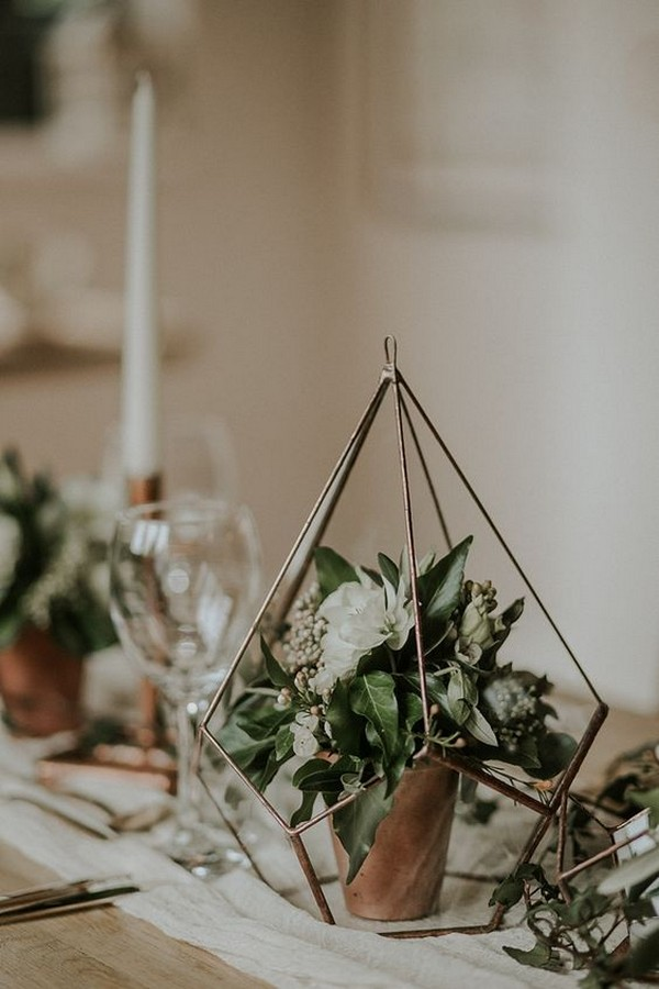 botanical and copper geometric terrarium wedding centerpiece ideas
