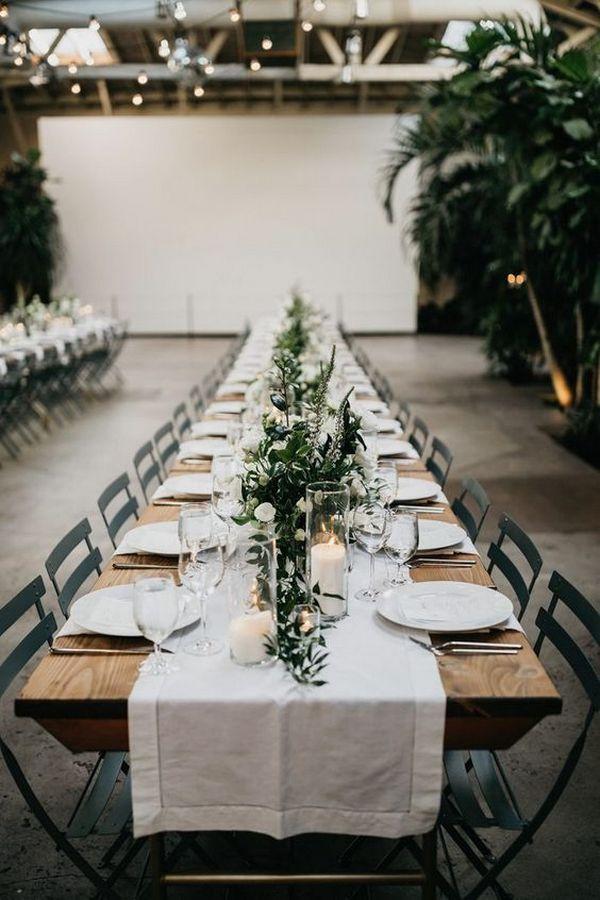 chic greenery industrial wedding reception ideas