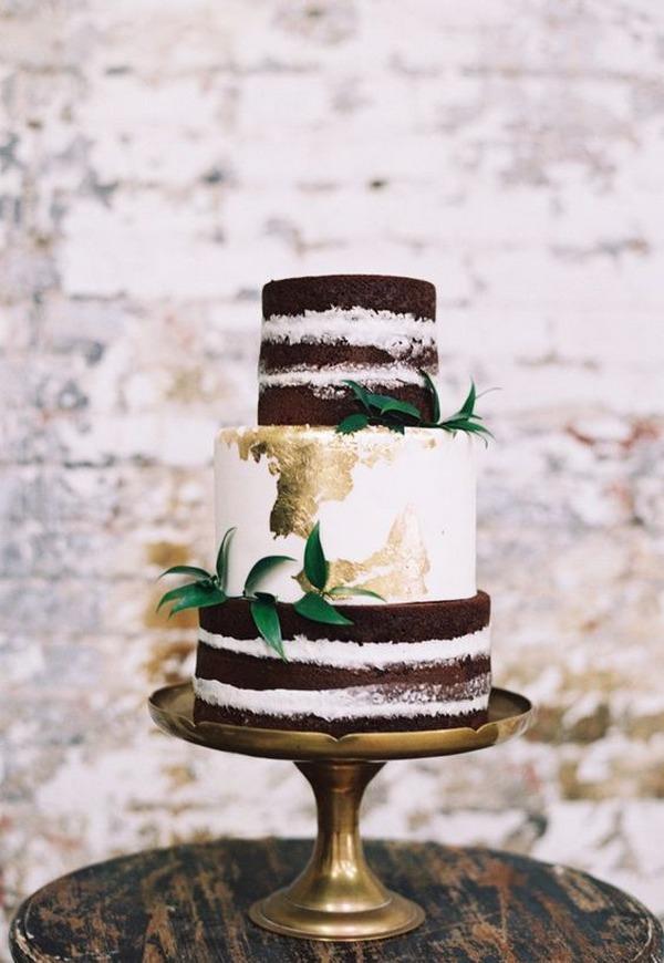 chic metallic gold wedding cake
