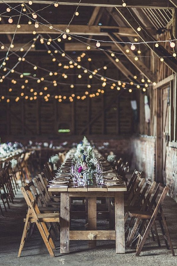 chic rustic barn wedding reception ideas with string lights