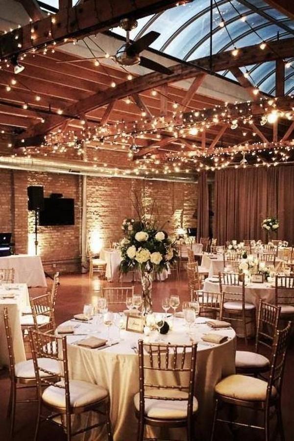chic rustic wedding reception lighting ideas