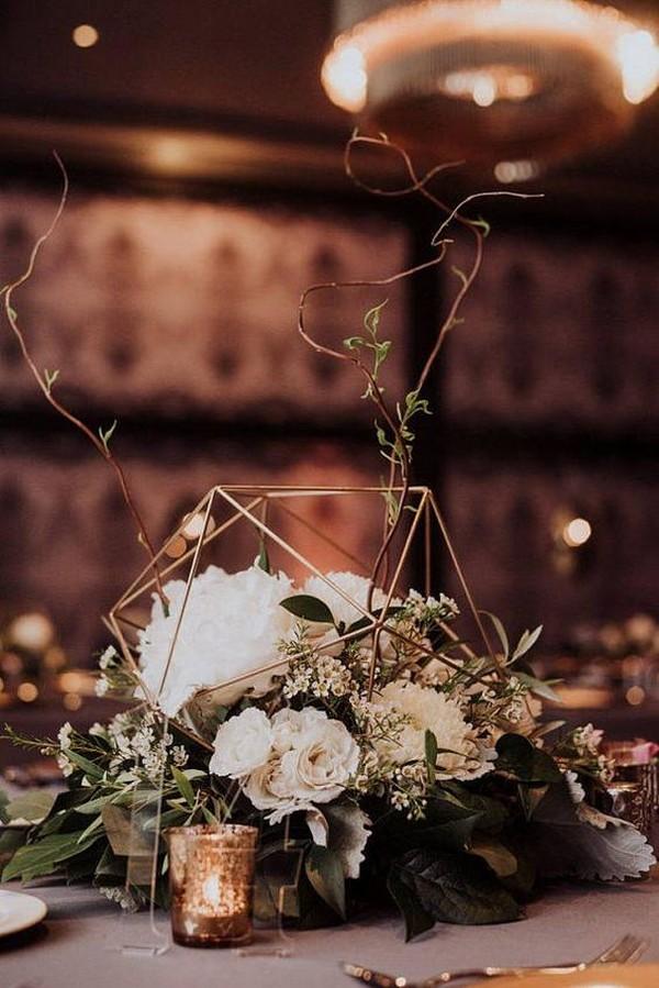 chic wedding centerpiece ideas with geometric sphere