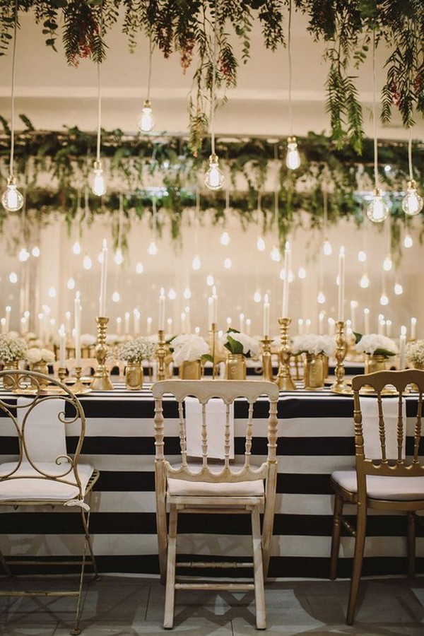 chic wedding reception ideas with hanging lights