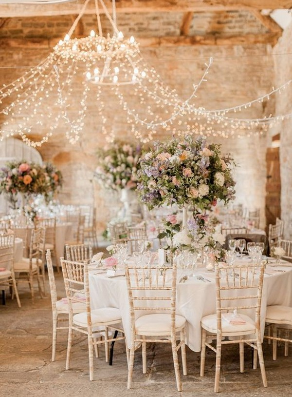 chic wedding reception ideas with string lights