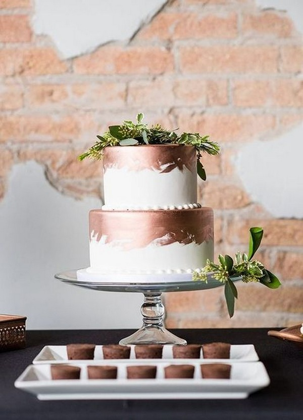 copper and greenery wedding cake