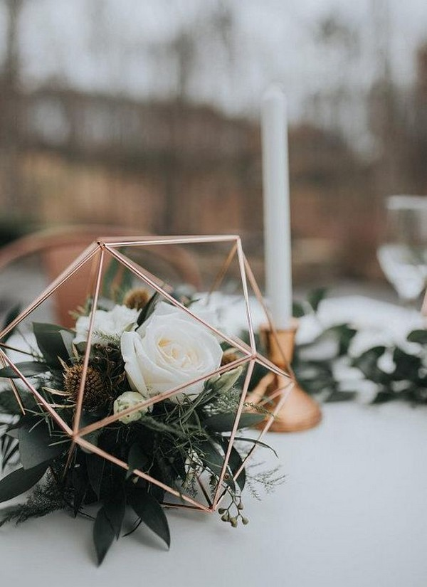 copper industrial geometric sphere wedding centerpiece with greenery
