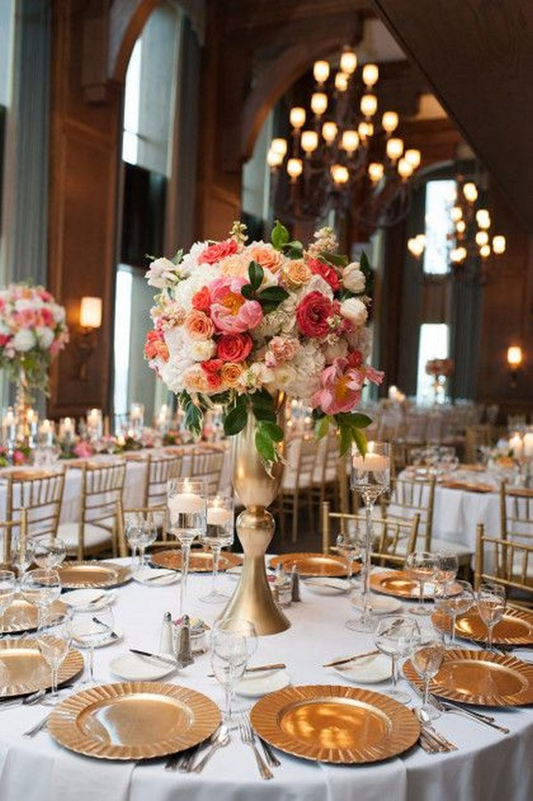 coral and gold tall wedding centerpiece ideas