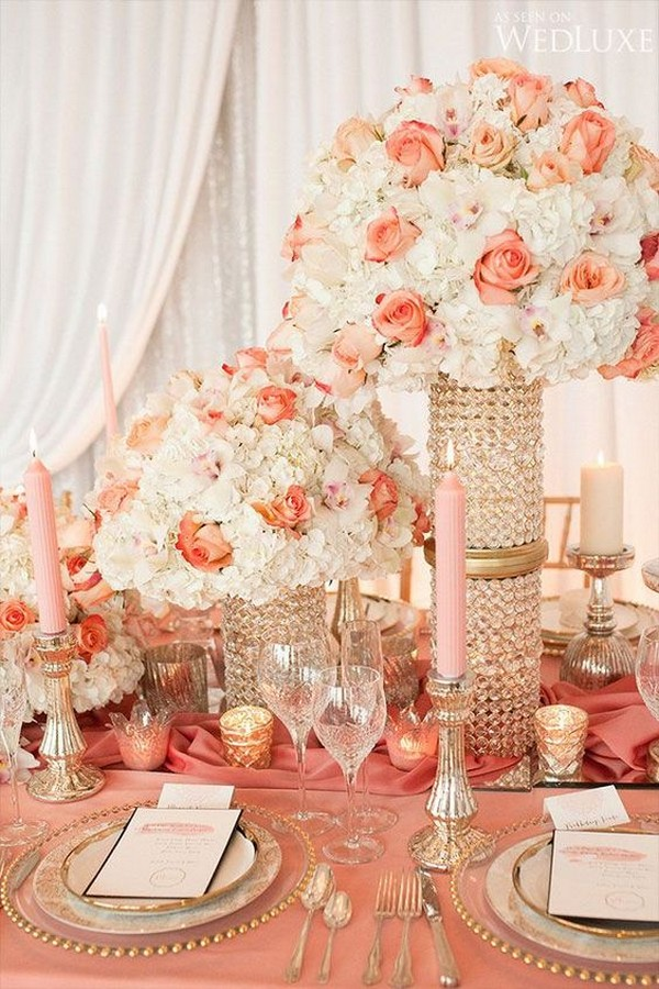 coral and gold wedding decoration ideas
