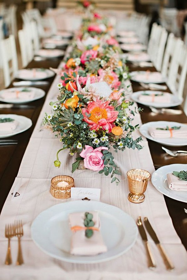 coral and greenery wedding table setting ideas