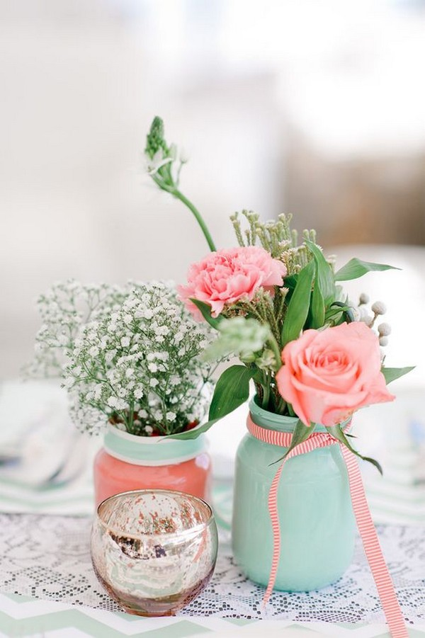 coral and mint wedding centerpiece ideas