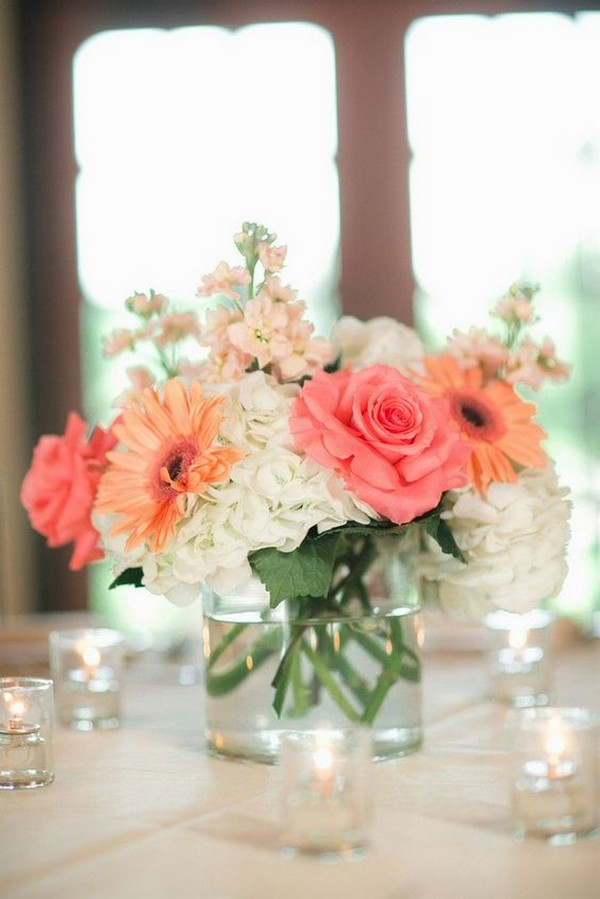 coral and white simple elegant wedding centerpiece