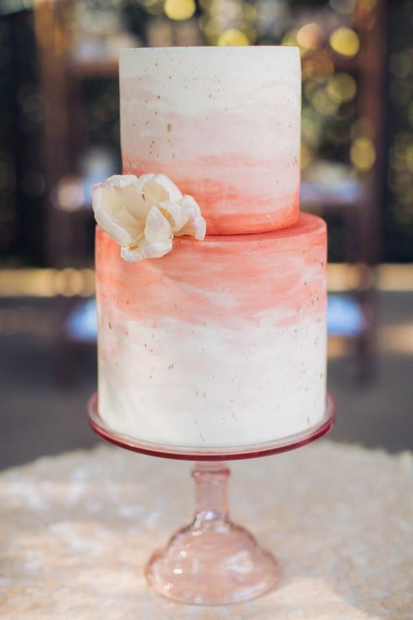 coral watercolor wedding cake ideas