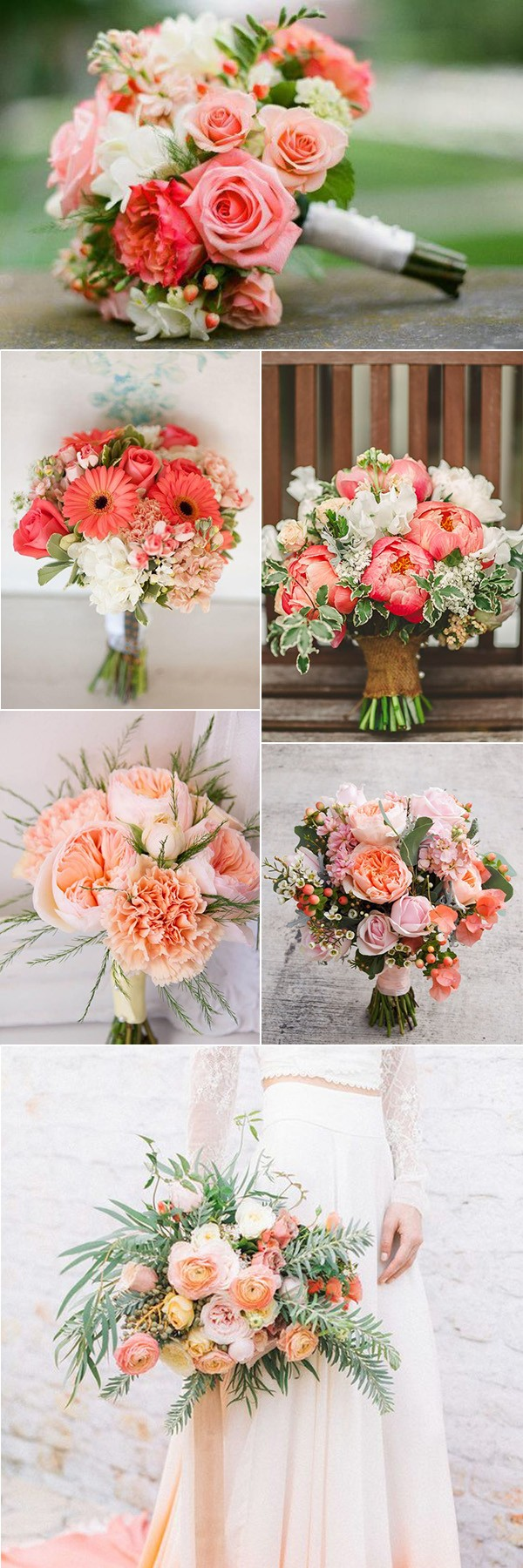 coral wedding bouquets for 2019 trends