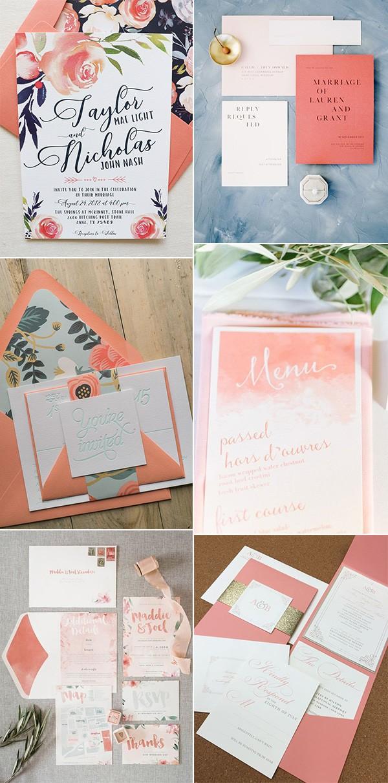 coral wedding invitations ideas