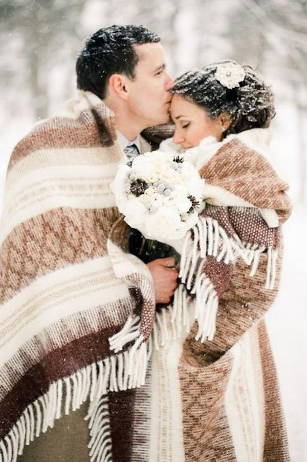 cosy winter wedding photo