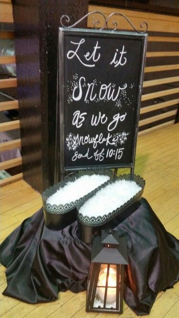 creative snow confetti wedding send off
