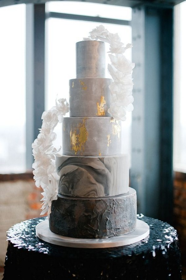 dusty blue and gold industrial wedding cake