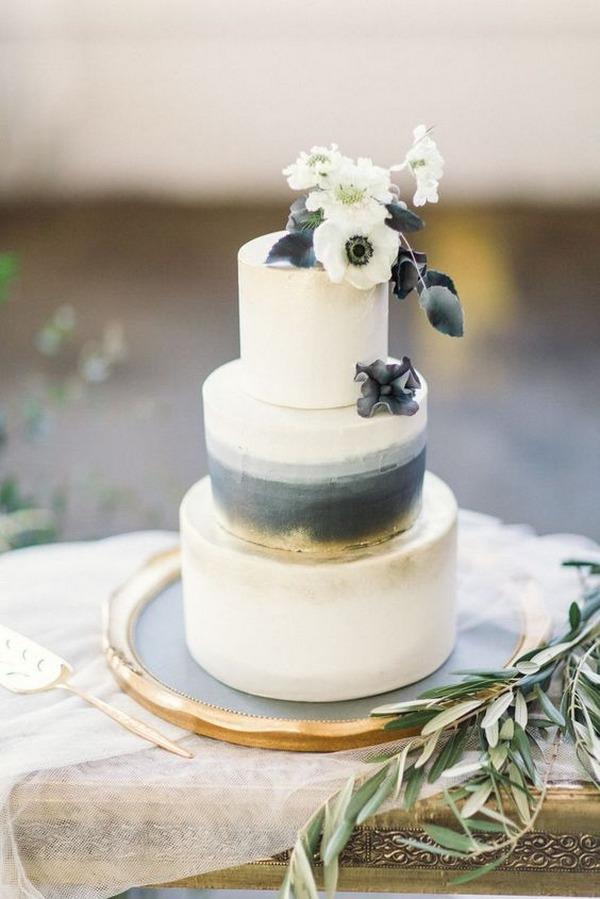 dusty blue industrial wedding cake
