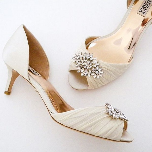 elegant ivory low kitten heel wedding shoes