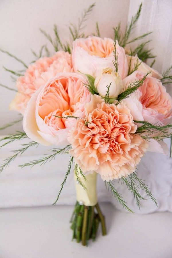 elegant peach coral wedding bouquet ideas