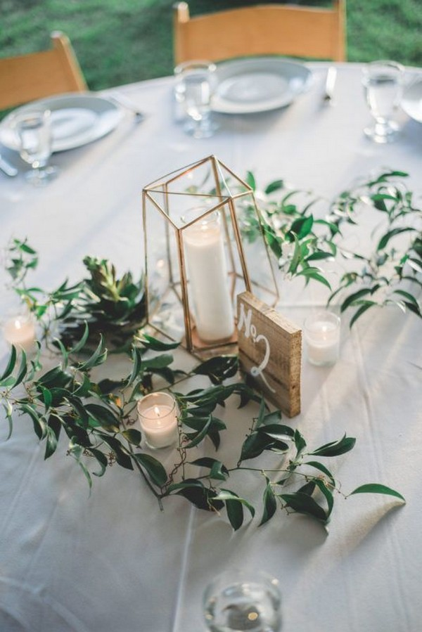 geometric wedding centerpiece ideas with candles
