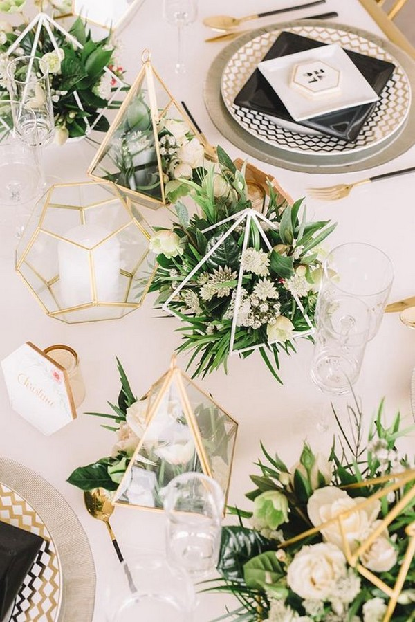gold and greenery modern wedding centerpiece ideas with geometry
