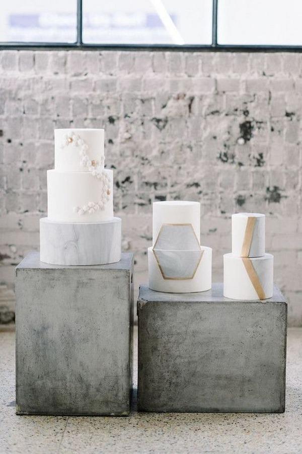 industrial geometric wedding cakes