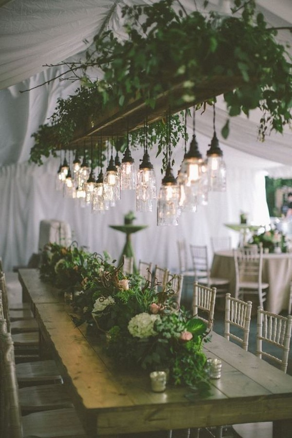 industrial greenery wedding reception ideas with hanging lights