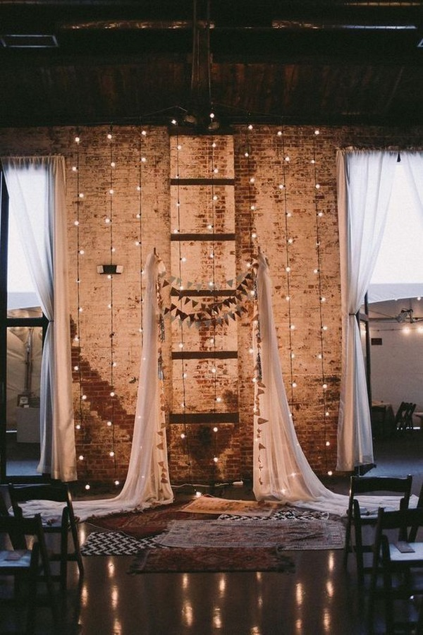 industrial wedding backdrop ideas with string lights