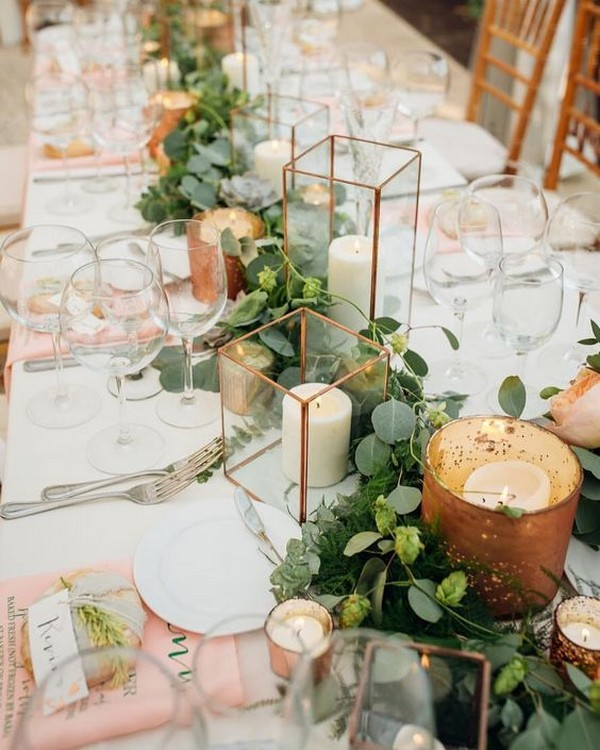 industrial wedding centerpiece ideas with copper geometry and candles