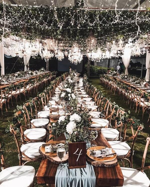 industrial wedding reception ideas with fairy lights