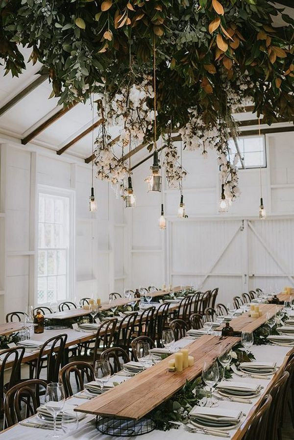 industrial wedding reception ideas with hanging greenery