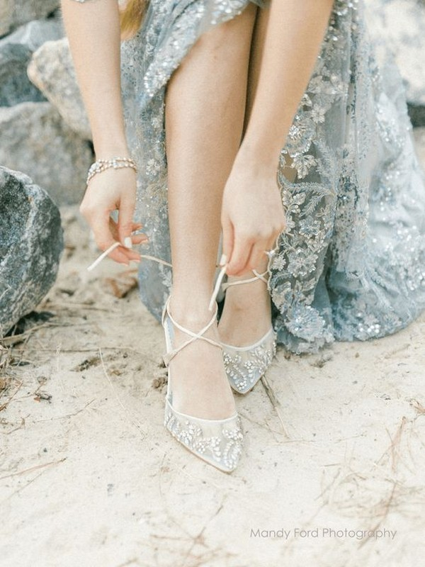 light blue lace up beaded low heel wedding shoes