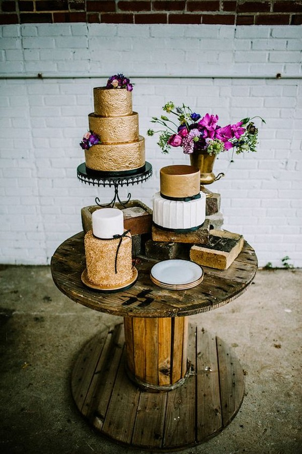 metallic gold and black industrail wedding cakes