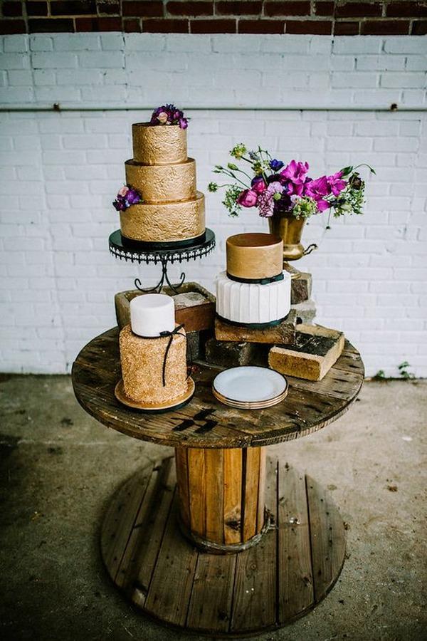 metallic gold and black industrail wedding cakes