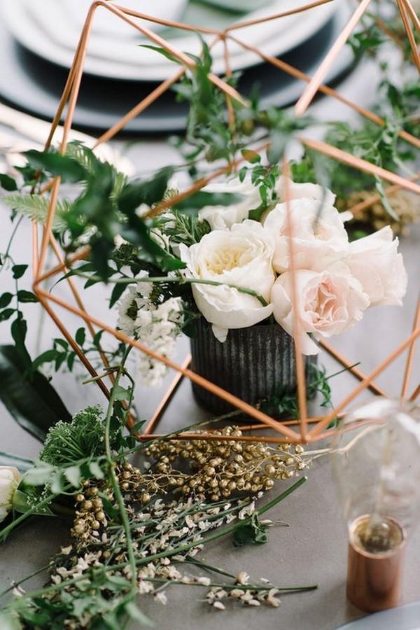 modern industrial geometric wedding centerpiece ideas