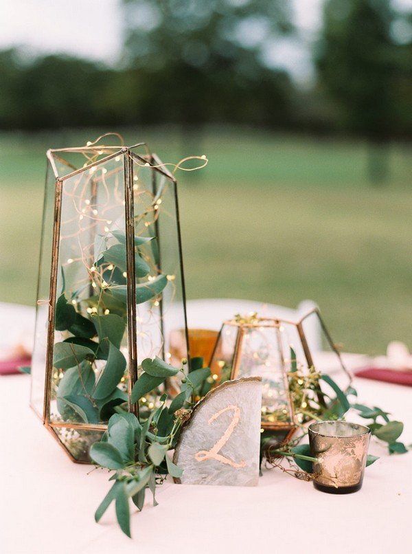 modern wedding centerpiece ideas with geometric terrariums