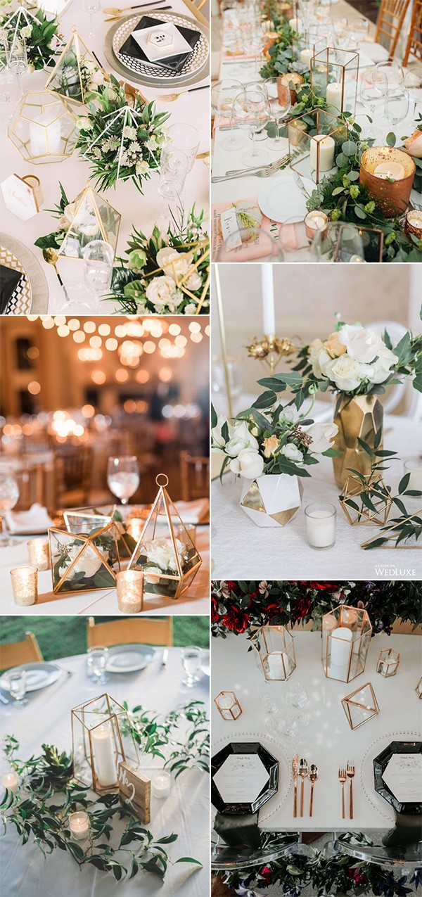 modern wedding centerpieces with geometric terrariums