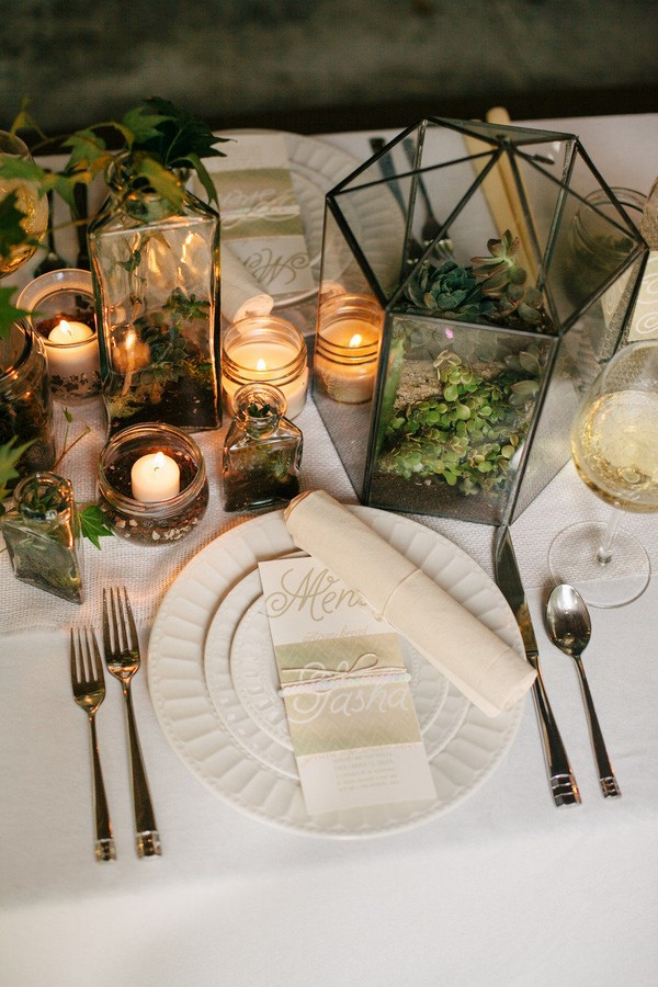 organic wedding centerpiece ideas with geometric terrarium