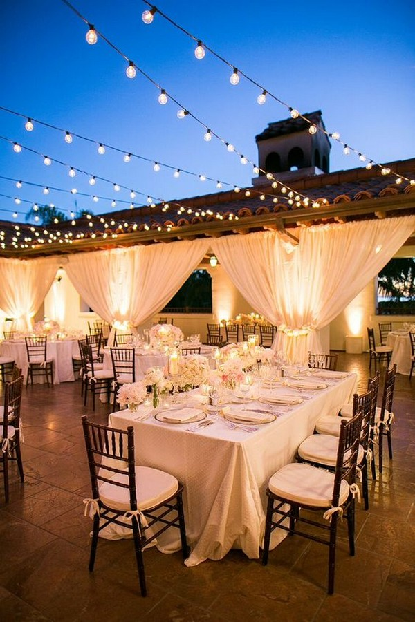 outdoor wedding reception ideas with string lights