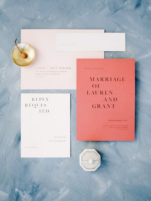 peach coral simple wedding invitation set