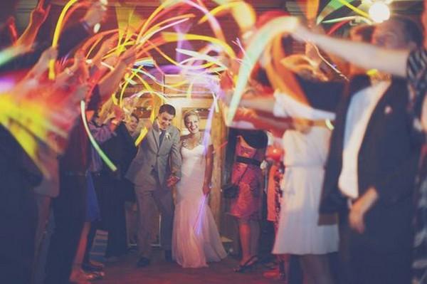 rainbow glow sticks wedding send off 3